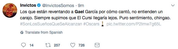 Gael García en redes.