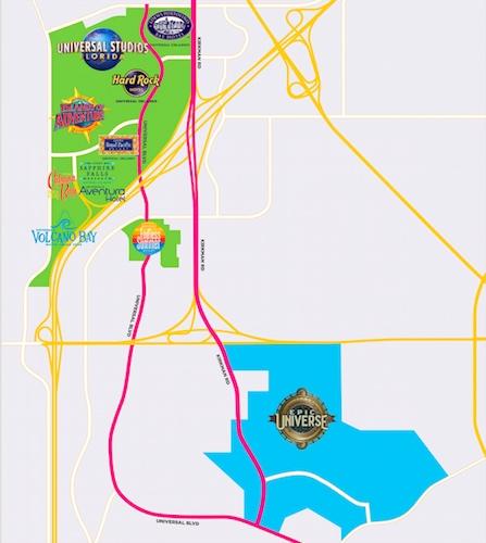 Mapa de los parques de Universal en Orlando